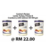[BUNDLE] Canine's Recipe Lamb, Turkey, Potato & Cranberry with Salmon Oil 400 gm x 3
