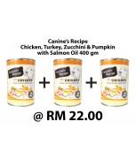[BUNDLE] Canine's Recipe Chicken, Turkey, Zucchini & Pumpkin with Salmon Oil 400 gm x 3