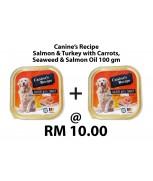 [Bundle] Canine's Recipe Salmon & Turkey with Carrots, Seaweed & Salmon Oil 100 gm x 2