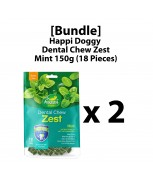 [Bundle] Happi Doggy Dental Chew Zest Mint 150g (18 Pieces) - Petite x 2
