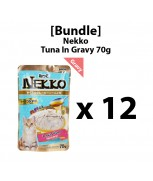[Bundle] Nekko Pouch Cat Food Tuna Topping Tuna In Gravy 70g x 12